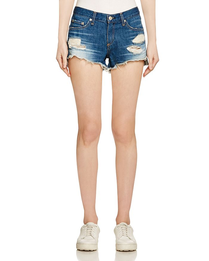 Rag & Bone Distressed Cut-off Denim Shorts, Freeport In Mid Denim
