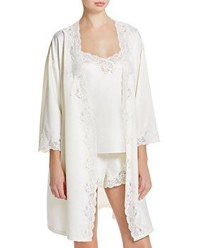 Ralph Lauren - Signature Collection Satin Wrap Robe & Knit Cami Pajama Set