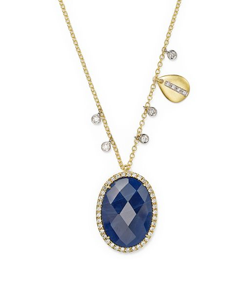 """Meira T - 14K Yellow Gold and 14K White Gold Blue Sapphire Pendant Necklace with Diamonds, 16"""""""