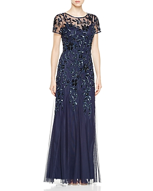 Adrianna Papell Short Sleeve Floral Beaded Gown