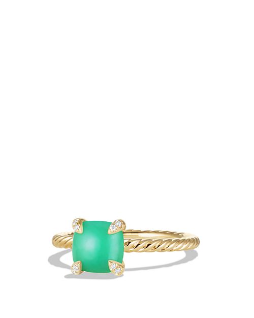 David Yurman - Châtelaine Ring with Chrysoprase and Diamonds in 18K Gold