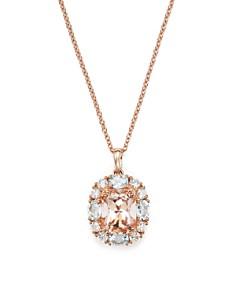 "Bloomingdale's - Morganite, Aquamarine and Diamond Pendant Necklace in 14K Rose Gold, 18"" - 100% Exclusive"