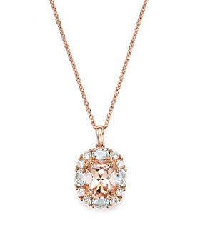 "Bloomingdale's - Morganite, Aquamarine and Diamond Pendant Necklace in 14K Rose Gold, 18""  - 100% Exclusive"