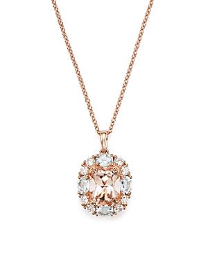 Morganite, Aquamarine and Diamond Pendant Necklace in 14K Rose Gold, 18 - 100% Exclusive
