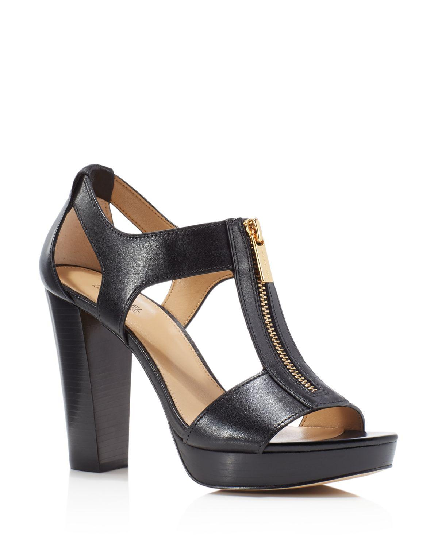 MICHAEL Michael Kors Berkley Leather Zip-Up Block Heel Sandals