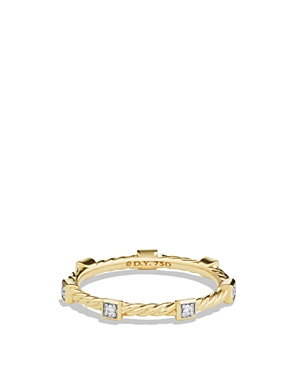 David Yurman Cable Collectibles Ring with Diamonds in 18K Gold