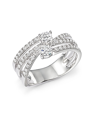 Diamond Two Stone Multi Ring in 14K White Gold, .79 ct. t.w. - 100% Exclusive