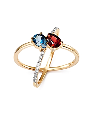 Bloomingdale's Blue Topaz and Garnet Two Stone X Ring with Diamonds in 14K Yellow Gold - 100% Exclusive