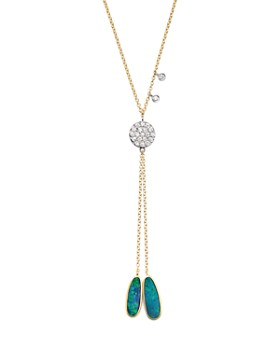 """Meira T - 14K Yellow Gold, Opal and Diamond Disc Lariat Necklace, 18"""""""