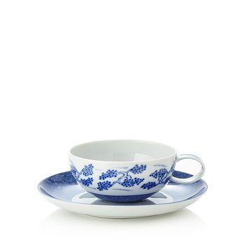 Mottahedeh - Blue Shou Tea Cup & Saucer