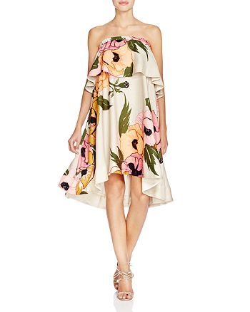 Tracy Reese - Strapless Floral Flounce Dress