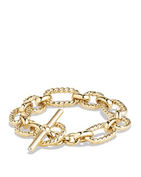 David Yurman - Chain Cushion Link Bracelet with Diamonds in 18K Gold