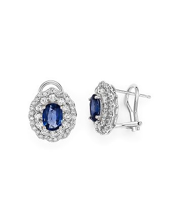 Bloomingdale's - Diamond Halo and Blue Sapphire Earrings in 14K White Gold- 100% Exclusive