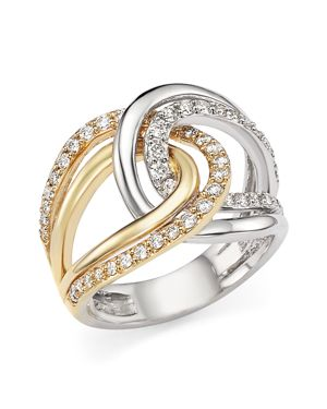 Diamond Two-Tone Crossover Ring in 14K White and Yellow Gold, .65 ct. t.w.