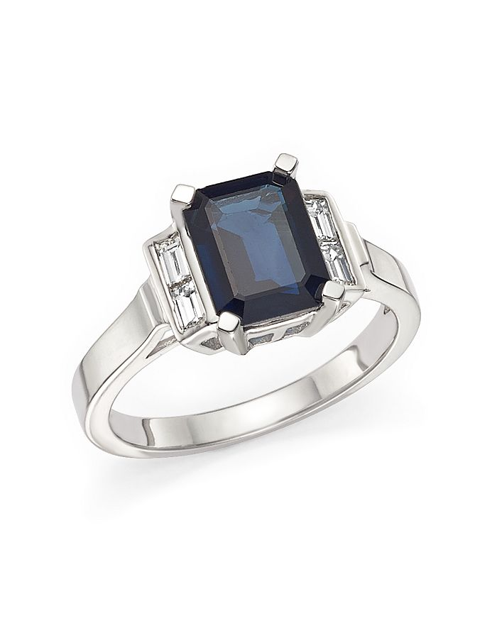 Bloomingdale's - Blue Sapphire and Baguette Diamond Ring in 14K White Gold- 100% Exclusive