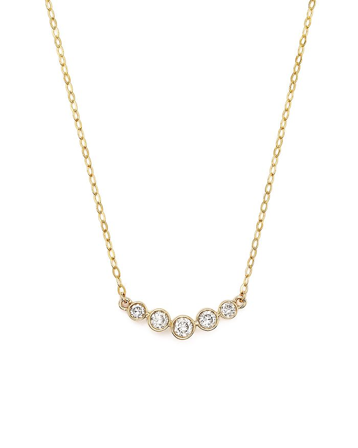 BLOOMINGDALE'S DIAMOND 5 STONE GRADUATED PENDANT NECKLACE IN 14K YELLOW GOLD, .25 CT. T.W.