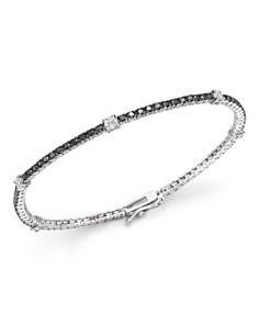 Bloomingdale's - Black and White Diamond Tennis Bracelet in 14K White Gold- 100% Exclusive