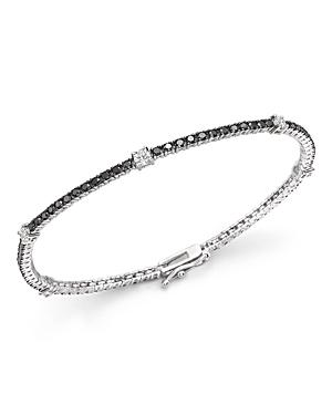 Black and White Diamond Tennis Bracelet in 14K White Gold - 100% Exclusive