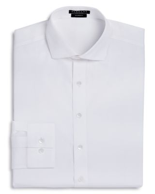 VARDAMA Park Avenue Solid Stain Resistant Dress Shirt - Regular Fit in White