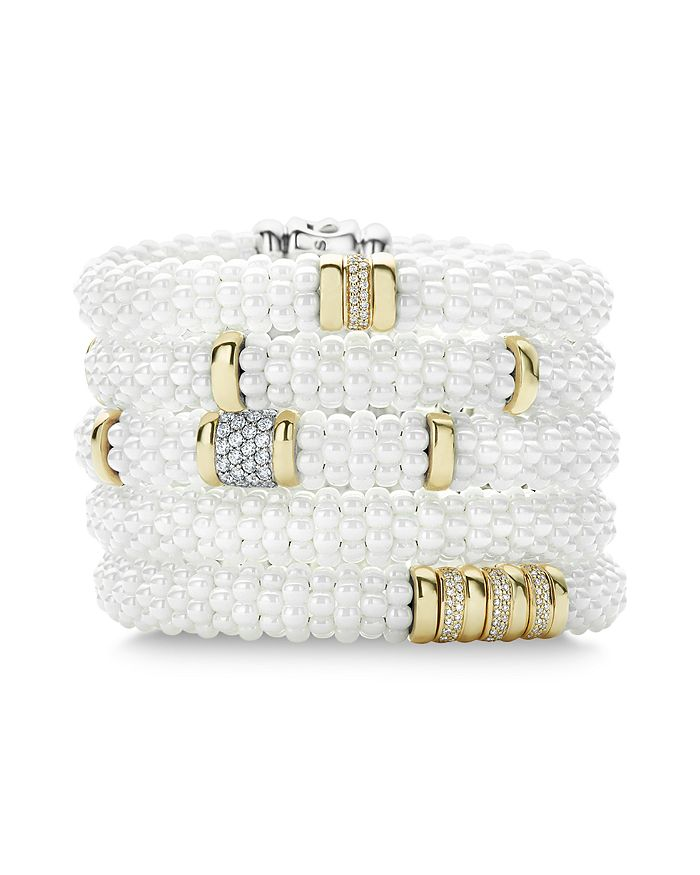 LAGOS - White Caviar Ceramic 18K Gold and Sterling Silver Bracelets