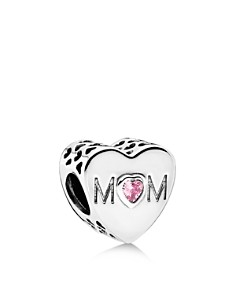 PANDORA Moments Collection Sterling Silver & Pink Cubic Zirconia Mother Heart Charm - Bloomingdale's_0