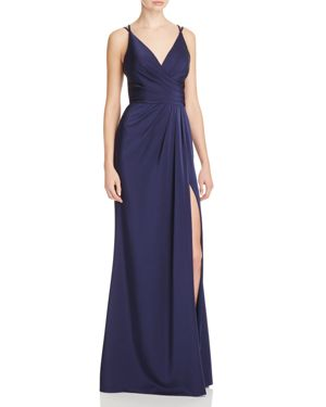 FAVIANA COUTURE FAILLE SATIN DRAPED GOWN