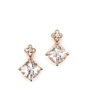 Morganite Drop Earrings with Diamond Accent in 14K Rose Gold - 100% Exclusive
