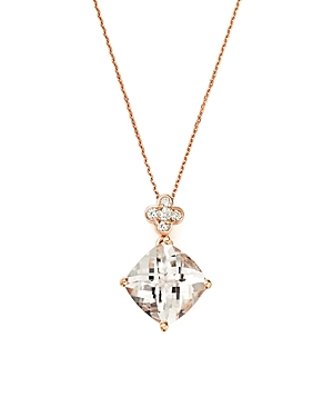 Morganite Pendant Necklace with Diamond Accent in 14K Rose Gold, 16 - 100% Exclusive