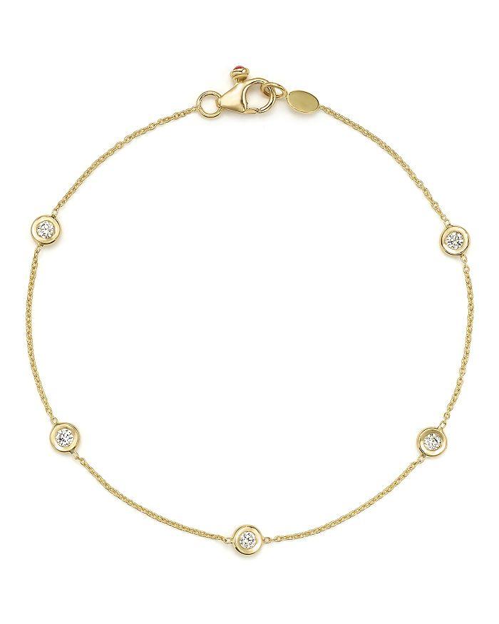 e0549973 18K Yellow Gold Five Station Bracelet with Diamonds