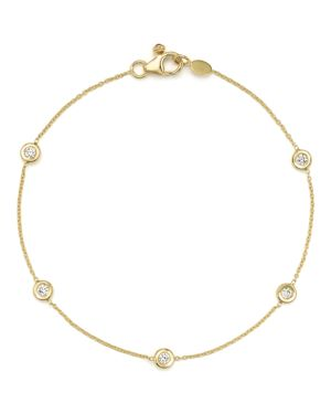 Roberto Coin 18K Yellow Gold Five Station Bracelet with Diamonds