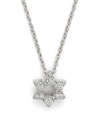 18K White Gold Star Of David Pendant Necklace With Diamonds, 16