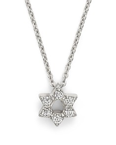 Roberto Coin - 18K White Gold Star of David Pendant Necklace with Diamonds, 16""