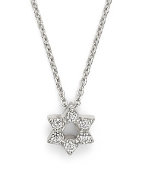 """Roberto Coin - 18K White Gold Star of David Pendant Necklace with Diamonds, 16"""""""