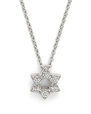 Roberto Coin 18K White Gold Star of David Pendant Necklace with Diamonds, 16