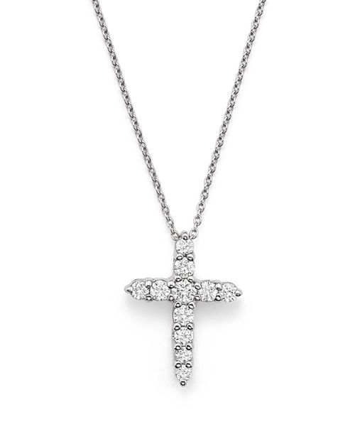 """Roberto Coin - 18K White Gold Cross Pendant Necklace with Diamonds, 16"""""""