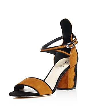 Isa Tapia Scalloped Block Heel Ankle Strap Sandals