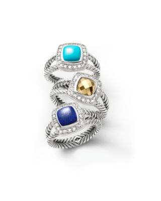 Petite Albion Ring with Turquoise and Diamonds