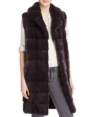 Maximilian Furs Notch Collar Long Mink Vest