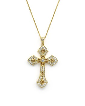 Bloomingdale's - Diamond Cross Pendant Necklace in 14K Yellow Gold, .50 ct. t.w. - 100% Exclusive