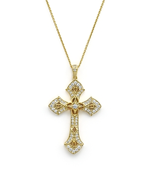 Diamond Cross Pendant Necklace in 14K Yellow Gold, .50 ct. t.w. - 100% Exclusive