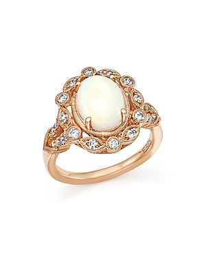 Opal and Diamond Ring in 14K Rose Gold - 100% Exclusive