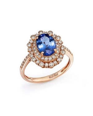 Tanzanite and Diamond Statement Ring in 14K Rose Gold - 100% Exclusive