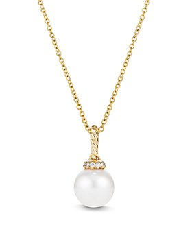 David Yurman - 18K Yellow Gold Solari Pearl Pendant Necklace with Diamonds