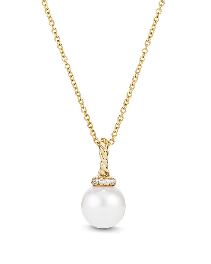David Yurman - 18K Yellow Gold Solari Pearl Pendant Necklace with Diamonds