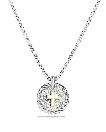 David Yurman - Cable Collectibles Cross Charm Necklace with Diamonds with 18K Gold