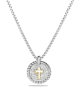 David Yurman Cable Collectibles Cross Charm Necklace with Diamonds with 18K Gold
