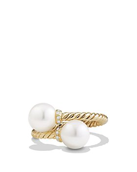 David Yurman - Solari Bypass Ring with Pearls and Diamonds in 18K Gold