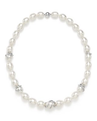 TARA PEARLS 14K White Gold Oscar Natural Color White South Sea Cultured Pearl And Diamond Necklace, 17.5