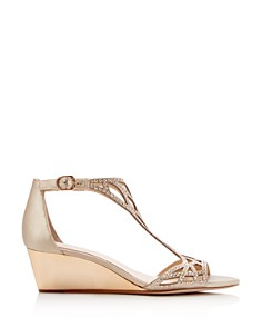 Imagine VINCE CAMUTO - Women's Jalen Metallic Rhinestone Cutout Wedge Sandals