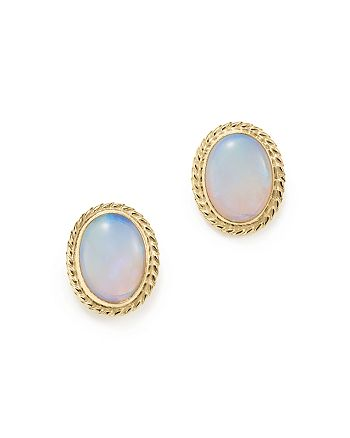 Bloomingdale's - Opal Bezel Set Stud Earrings in 14K Yellow Gold - 100% Exclusive